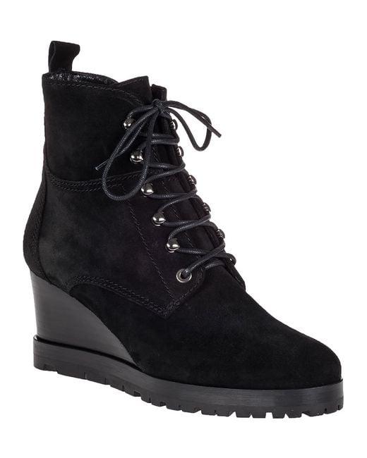 aquatalia chance wedge boot black suede in black black