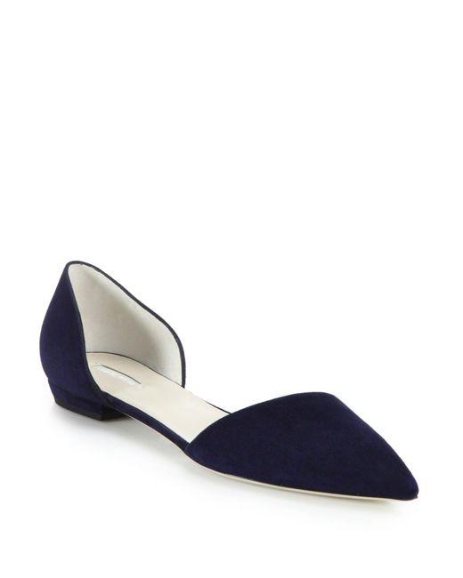 Giorgio Armani   Blue Suede D'orsay Flats   Lyst
