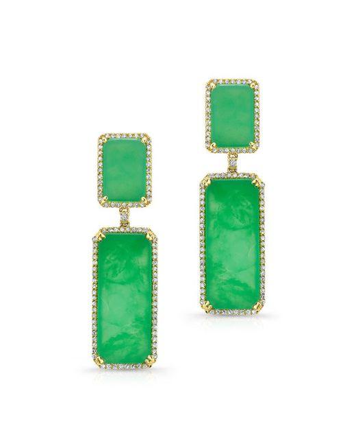 Anne Sisteron - Metallic 14kt Yellow Gold Chrysoprase Diamond Anna Earrings - Lyst