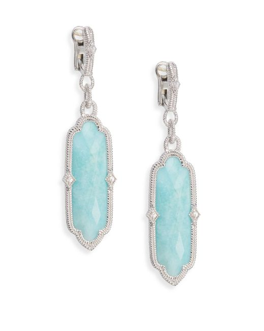 Judith Ripka | Metallic Chelsea Amazonite, White Sapphire & Sterling Silver Drop Earrings | Lyst