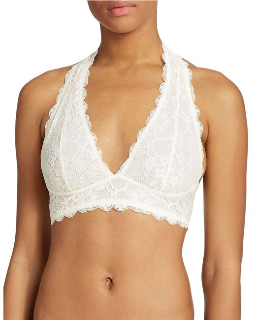 Free People | White Lace Halter Bralette | Lyst