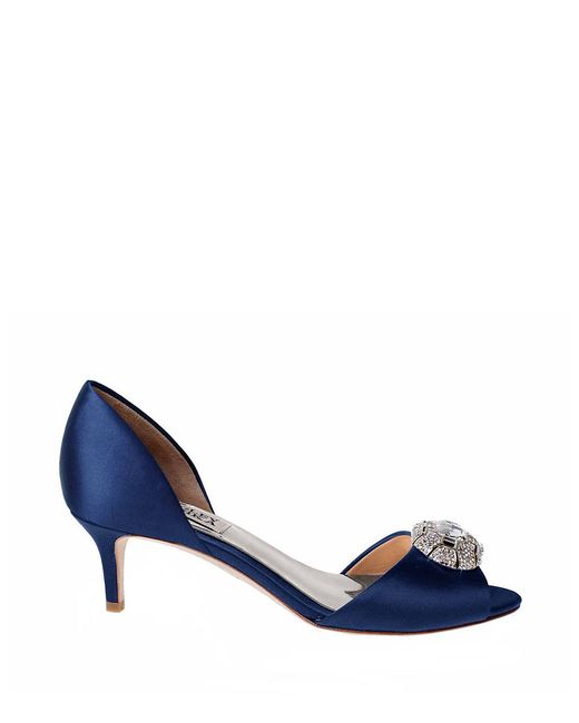 Badgley Mischka | Blue Petrina Satin Brooch Peep-toe Pumps | Lyst