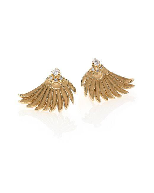 Mizuki   Metallic Diamond & 14k Yellow Gold Small Wing Earrings   Lyst