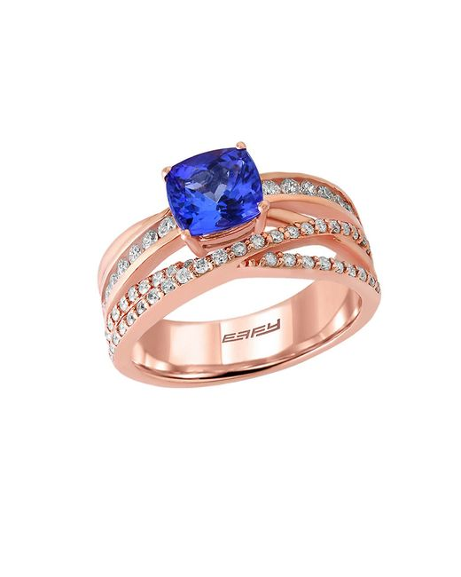 Effy | Blue Tanzanite Royale Diamond And 14k Rose Gold Crisscross Ring, 0.57tcw | Lyst