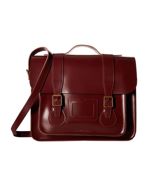 """Dr. Martens   Red 15"""" Leather Satchel   Lyst"""