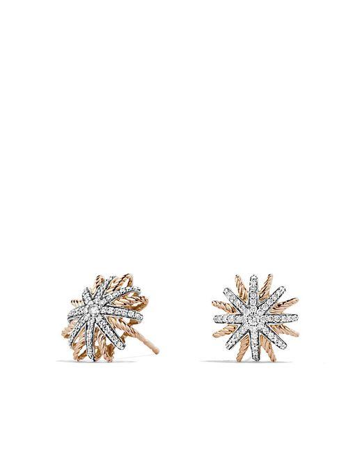 David Yurman   Pink Starburst Earrings With Diamonds In 18k Rose Gold, 14mm   Lyst