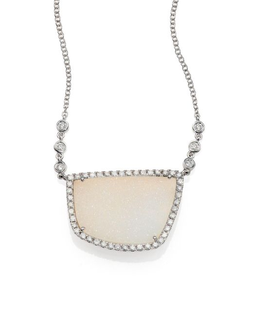 Meira T | White Druzy, Diamond & 14k White Gold Pendant Necklace | Lyst