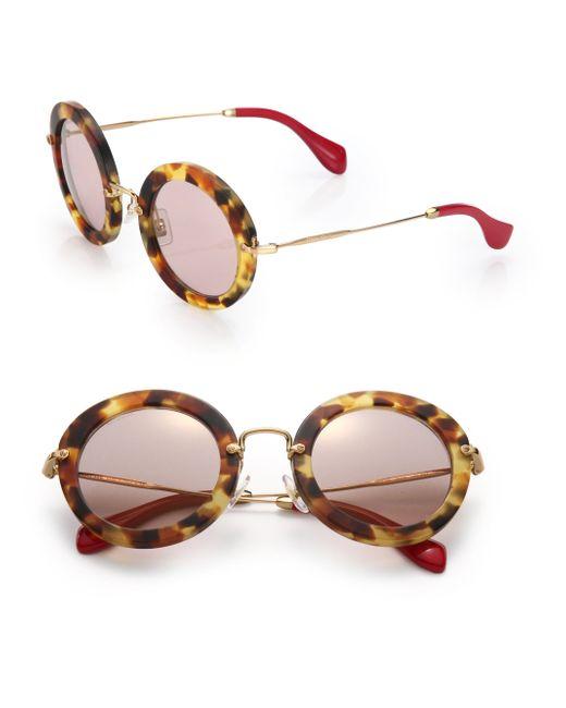 Miu Miu | Brown 49mm Round Sunglasses | Lyst