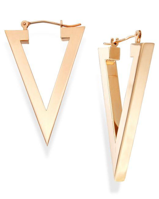 Macy's | Metallic Triangle Hoop Earrings In 14k Gold | Lyst