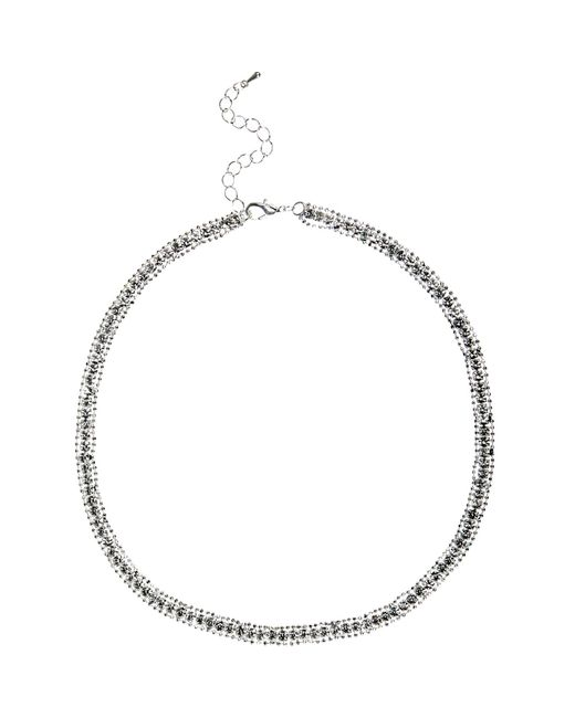 River Island | Metallic Silver Tone Diamante Sparkle Necklace | Lyst