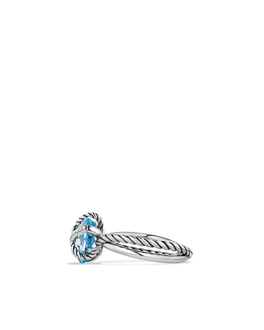 David Yurman | Ring With Blue Topaz And Diamonds | Lyst