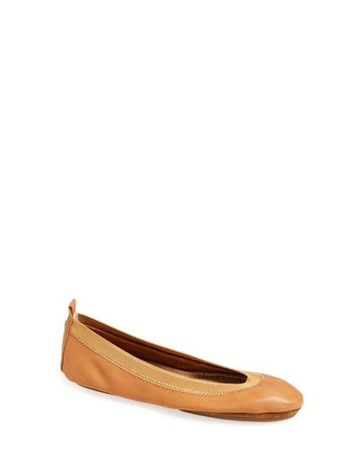Yosi Samra | Brown 'samara' Foldable Ballet Flat | Lyst