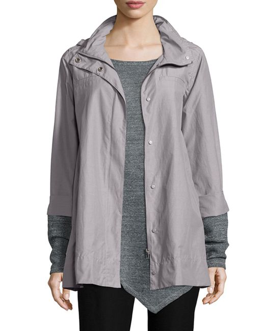 Eileen Fisher | Gray Ako Hooded A-line Jacket | Lyst