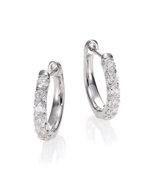 Jude Frances | Jude Diamond & 18k White Gold Huggie Hoop Earrings/0.5 | Lyst