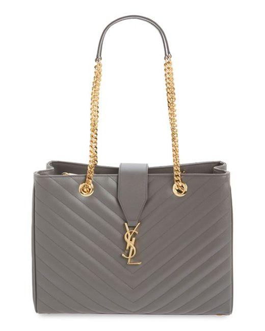 Saint Laurent | Red Monogram Grained-Leather Shopper Bag  | Lyst