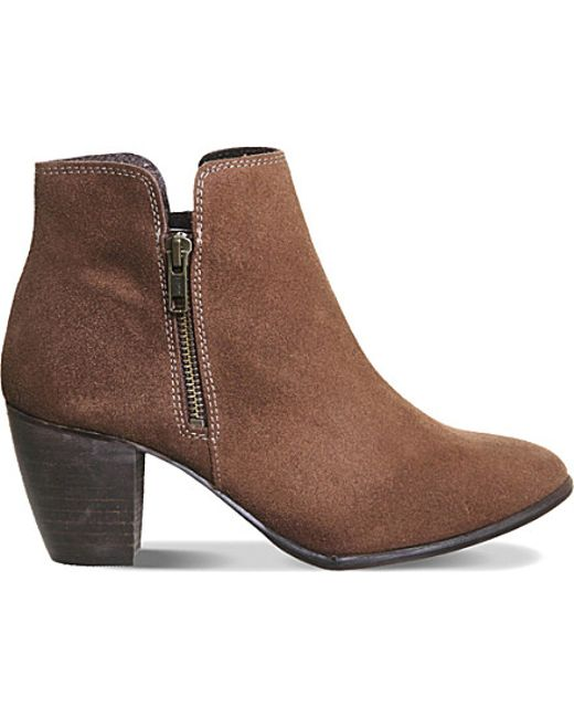 office justine suede ankle boots in brown mink suede