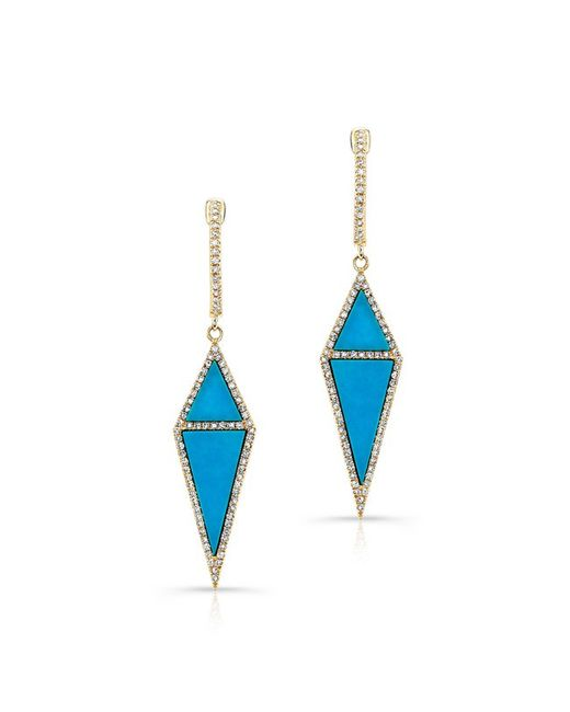 Anne Sisteron | Metallic 14kt Yellow Gold Double Turquoise Diamond Shield Earrings | Lyst