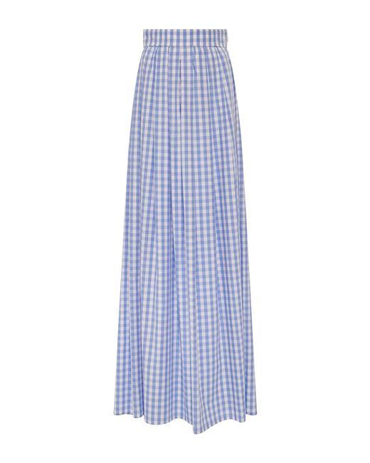 vivetta cotton gingham maxi skirt in blue light