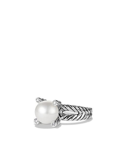 David Yurman | White Pearl Cable Cup Ring Pe Di Sil | Lyst