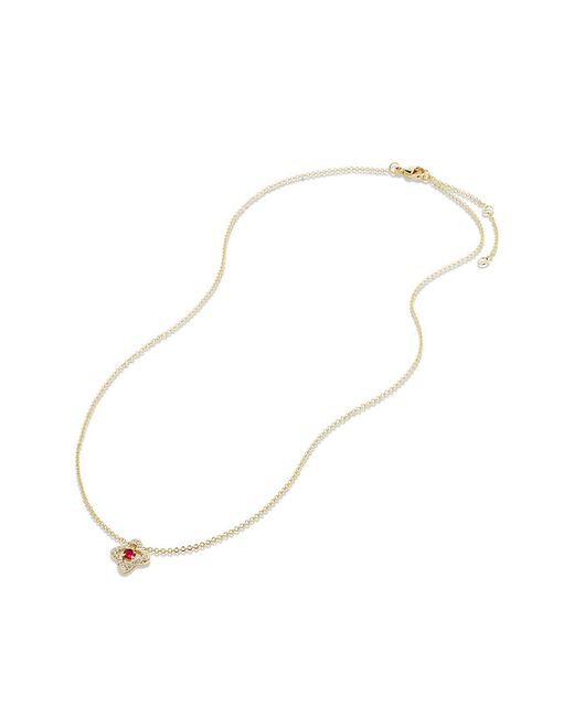 David Yurman | Red Venetian Quatrefoil Necklace With Ruby And Diamonds In 18k Gold | Lyst