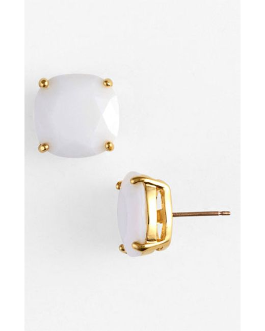 kate spade new york | White Small Square Stud Earrings | Lyst