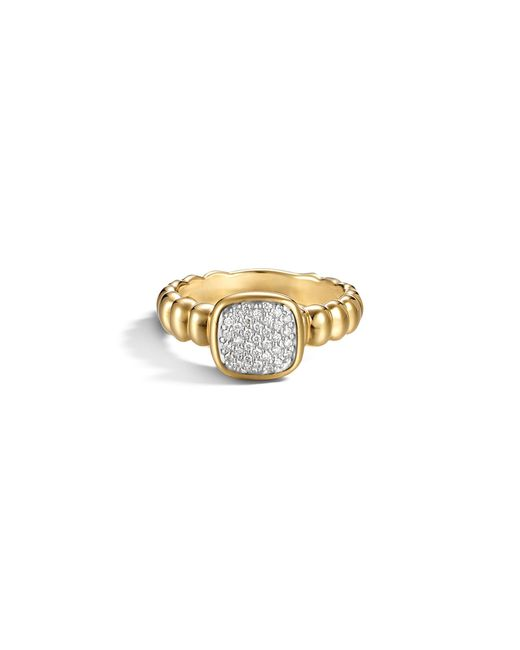 John Hardy | Metallic Bedeg 18k Gold And Diamond Pave Square Station Slim Ring | Lyst