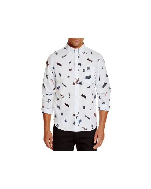 Ps by paul smith abstract print slim fit button down shirt for Slim fit white button down shirt
