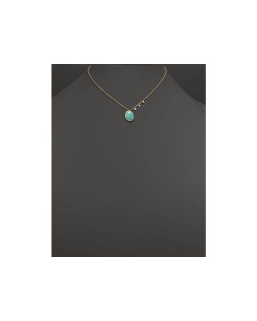 "Meira T   Metallic 14k Yellow Gold Amazonite Pendant Necklace With Diamonds, 16""   Lyst"