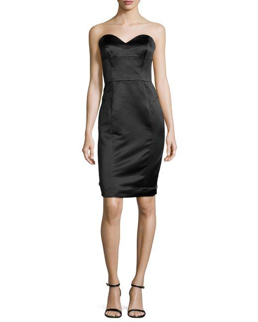 MILLY | Black Marta Strapless Duchess Satin Dress | Lyst