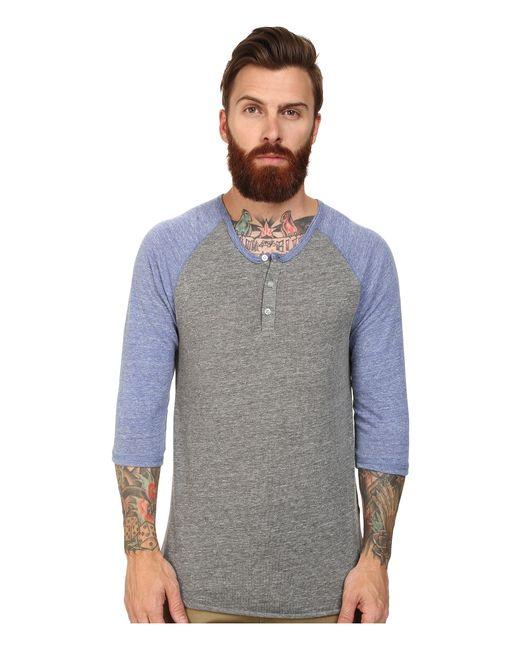 Alternative Apparel   Gray 3/4 Raglan Henley for Men   Lyst
