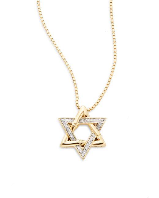 John Hardy   Metallic Bamboo Diamond & 18k Yellow Gold Star Of David Pendant Necklace   Lyst