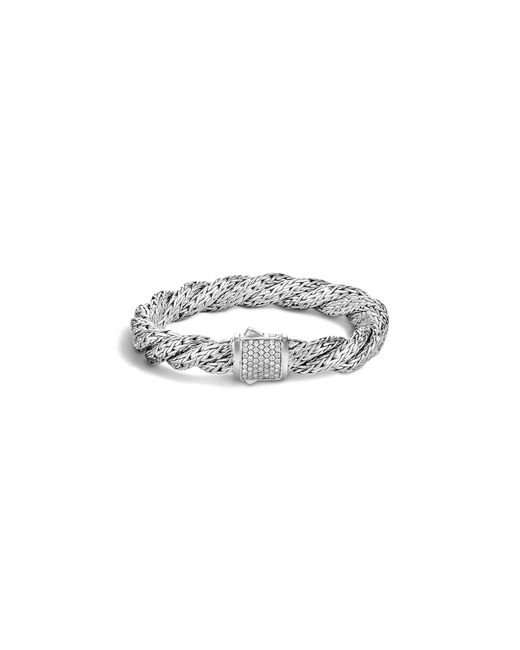 John Hardy | White Classic Chain Sterling Silver Diamond Pavé Medium Flat Twisted Chain Bracelet | Lyst