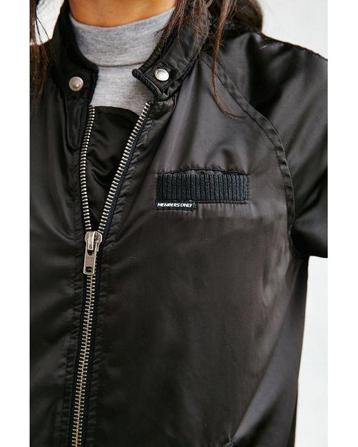 Members Only | Black Satin Bomber Jacket | Lyst