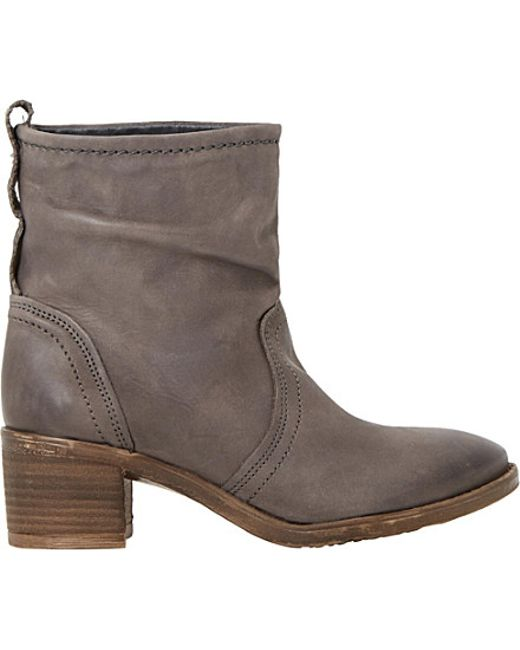 dune polizzi ruched leather ankle boots in gray grey