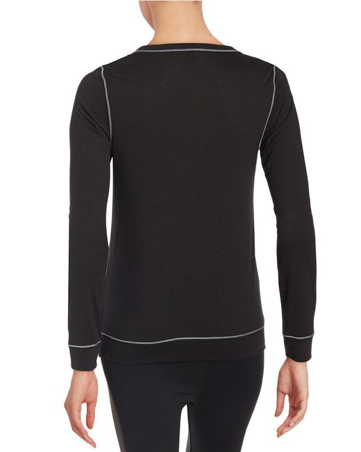 Calvin Klein | Black Long Sleeve Knit Top | Lyst