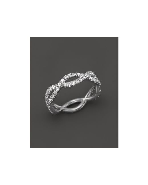 Roberto Coin | 18k White Gold And Diamond Braided Ring | Lyst