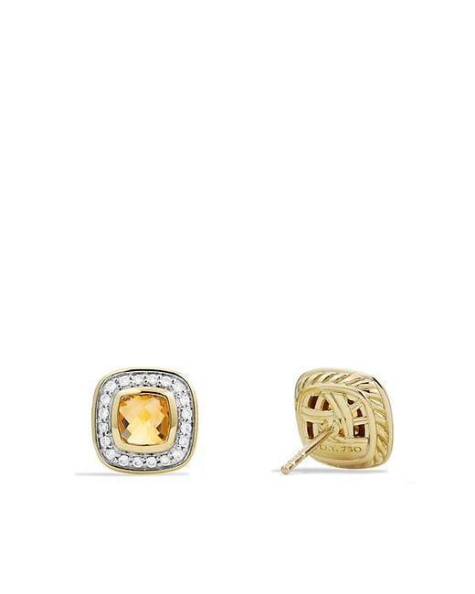 David Yurman | Yellow Petite Albion Earrings With Diamonds In 18k Gold | Lyst