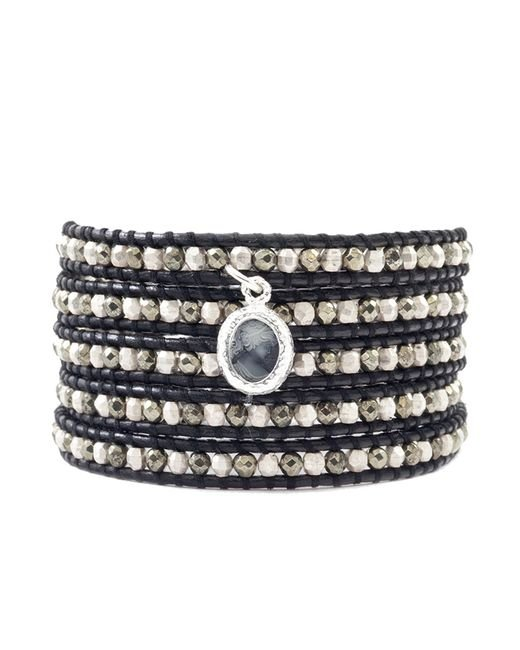Chan Luu | Multicolor Pyrite And Silver Wrap Bracelet On Black Leather | Lyst