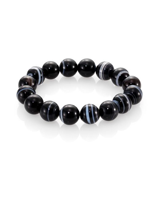 Nest | Black Line Agate Beaded Stretch Bracelet | Lyst