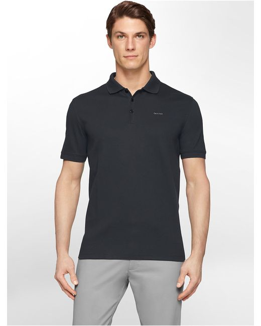 Calvin Klein | Blue Classic Fit Solid Liquid Cotton Polo Shirt for Men | Lyst