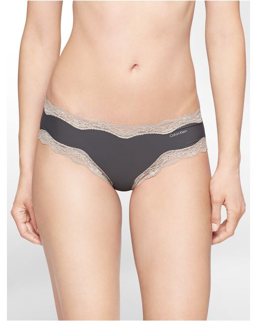Calvin Klein | Gray Underwear Cheeky Hipster With Lace | Lyst