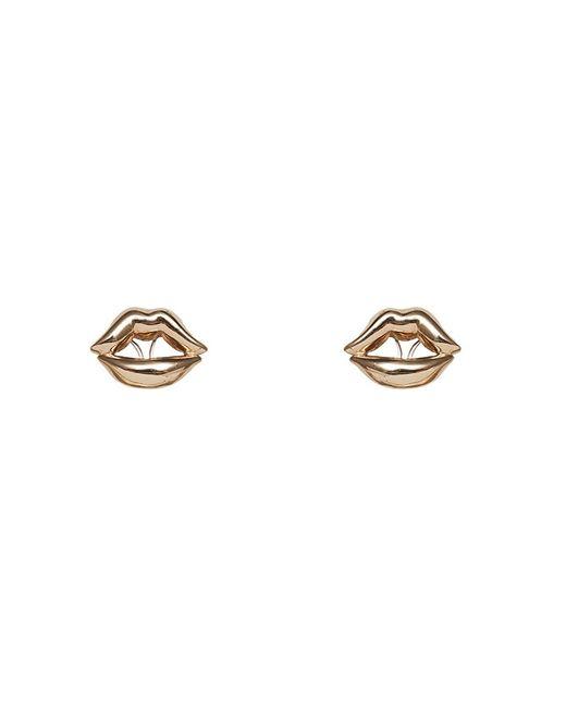 Bernard Delettrez | Metallic Lips Earrings Bronze | Lyst
