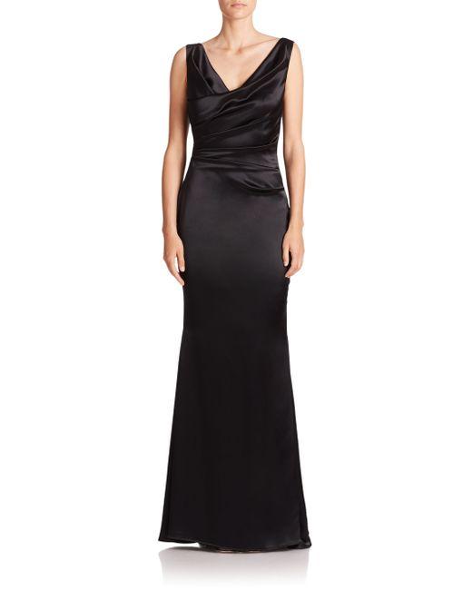 talbot runhof ruched satin v neck gown in black lyst. Black Bedroom Furniture Sets. Home Design Ideas