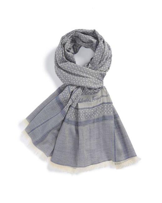 Ferragamo | Metallic Gancini Cotton Scarf for Men | Lyst