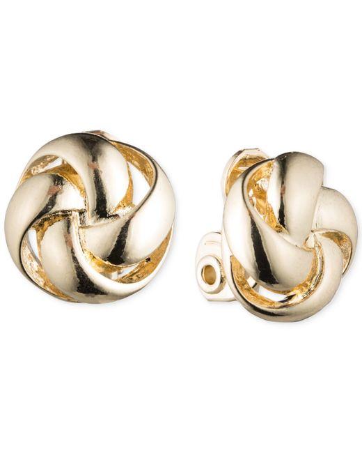 Anne Klein | Metallic Gold-tone Knot Clip-on Earrings | Lyst