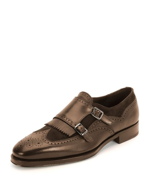 Ferragamo - Brown Marlin Double-monk Shoe for Men - Lyst