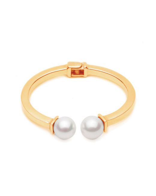 Forever 21 | Metallic Amber Sceats Double Faux Pearl Bracelet | Lyst