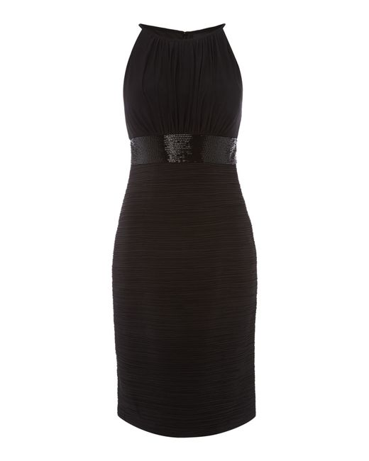 JS Collections | Black Jersey Halter Dress With Beaded Waistband | Lyst