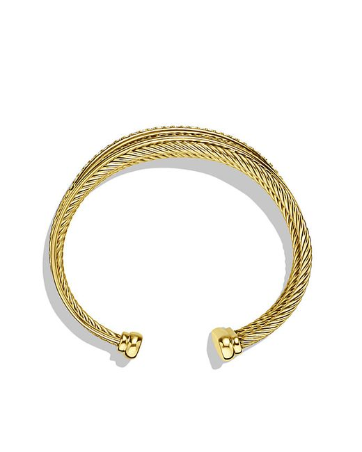 David Yurman | Yellow Crossover Four-row Cuff With Diamonds In Gold | Lyst