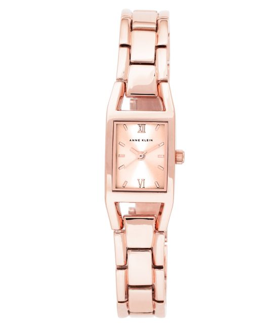 Anne klein rose gold bracelet watch in pink rose gold lyst for Anne klein rose gold watch set